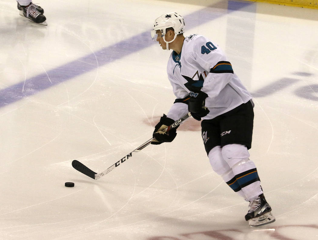San Jose Sharks center Ryan Carpenter (40) skates during warmups before playing against the Florida Panthers in an NHL hockey game, Friday, Dec. 1, 2017, in Sunrise, Fla. (AP Photo/Joe Skipper)