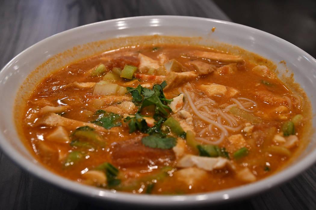 VeggiEAT Xpress Tomato Vegan Seafood Rice Noodle Soup is made of vegan shrimp, vegan scallop, tofu and bok choy. (Daria Sokolova/View)