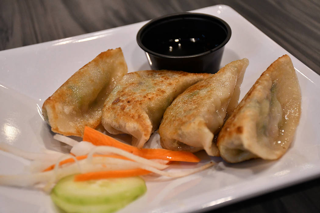 All dishes at VeggieEAT Xpress at at 390 N. Stephanie, Suite 101 in Henderson are vegan. Pictured: pot stickers which are made of mushroom, cabbage, bamboo shoot, and zucchini served with homemade ...