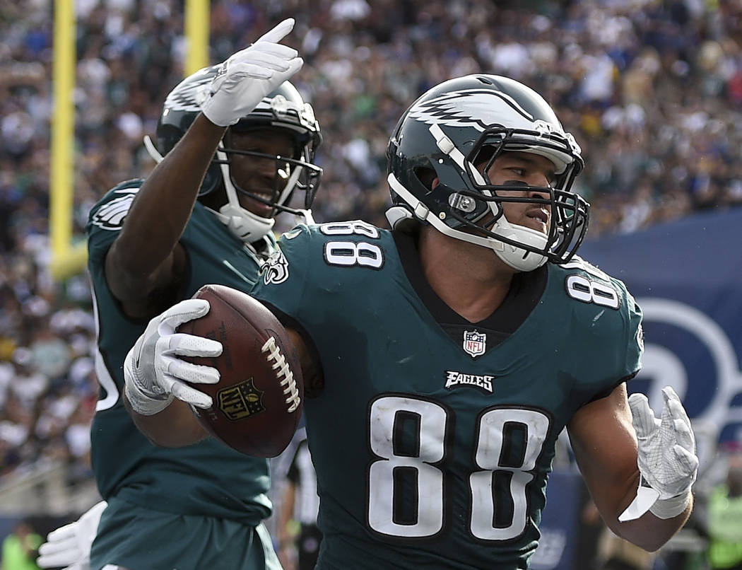 Philadelphia Eagles tight end Trey Burton (88) celebrates after scoring during the first half of an NFL football game against the Los Angeles Rams Sunday, Dec. 10, 2017, in Los Angeles. (AP Photo/ ...