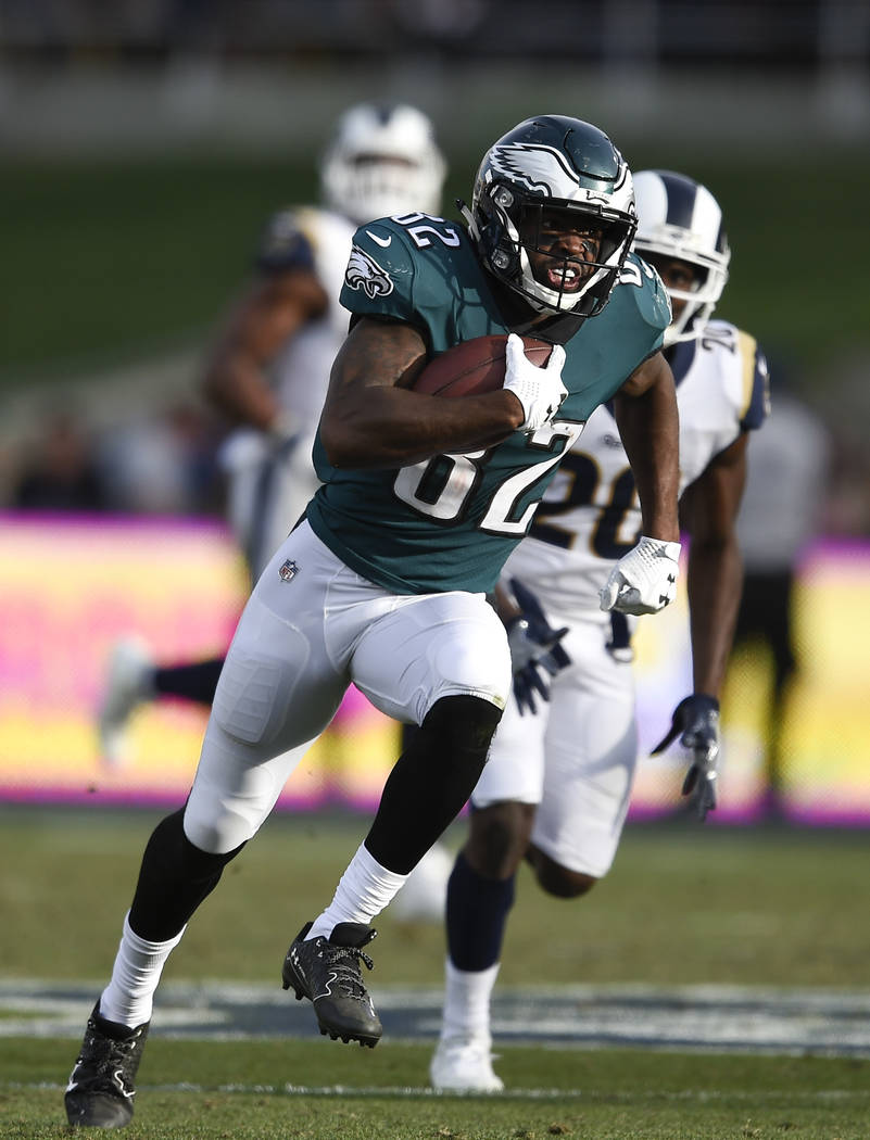 Philadelphia Eagles wide receiver Torrey Smith plays against the Los Angeles Rams during the first half of an NFL football game Sunday, Dec. 10, 2017, in Los Angeles. (AP Photo/Kelvin Kuo)