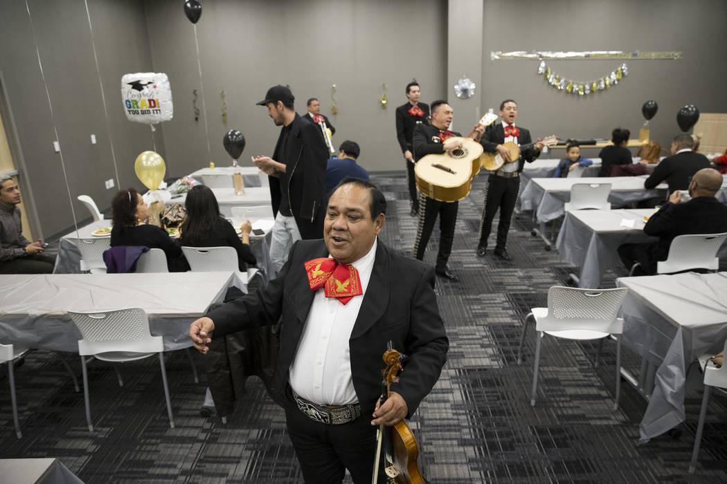 Ramon Lopez of Mariachi Vegas International performs during a ceremony celebrating undocumented graduates at UNLV in Las Vegas, Saturday, Dec. 16, 2017. Erik Verduzco/Las Vegas Review-Journal