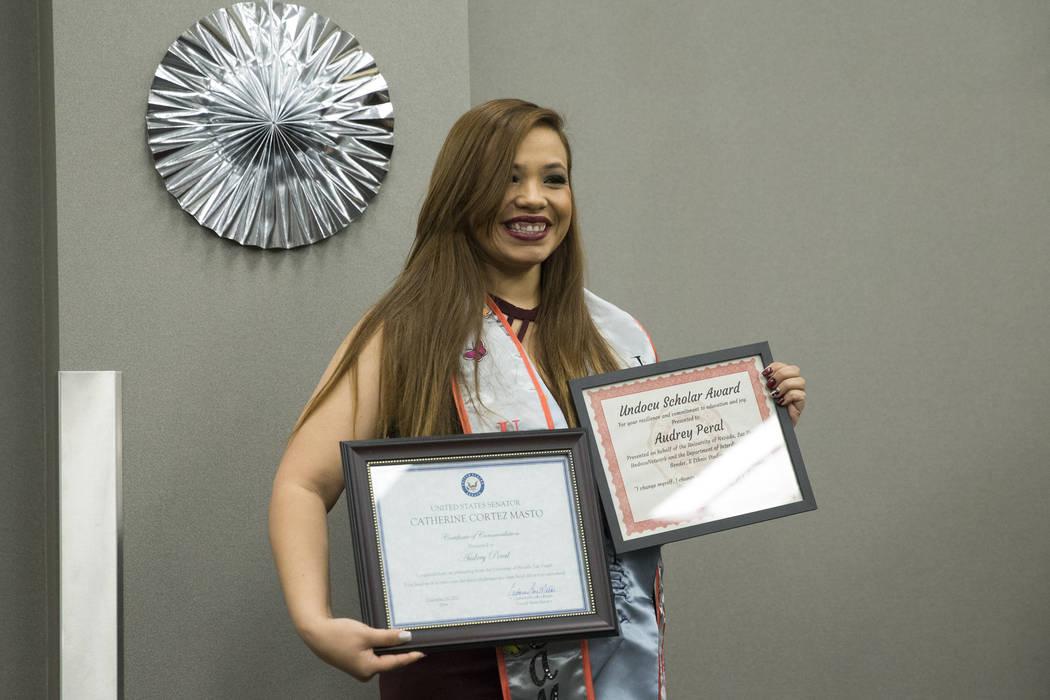 UNLV psychology graduate Audrey Peral, is recognized during a ceremony celebrating undocumented graduates at UNLV in Las Vegas, Saturday, Dec. 16, 2017. Erik Verduzco/Las Vegas Review-Journal