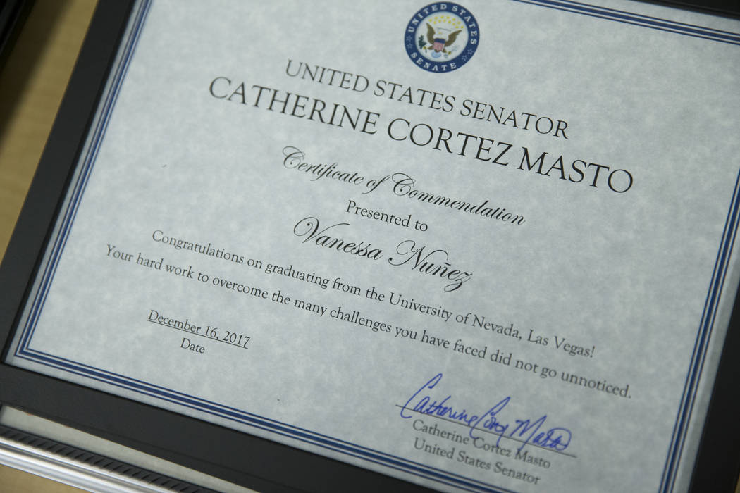 A certificate of commendation for Vanessa Nuñez from U.S. Senator Catherine Cortez Masto, D-Nev., during a ceremony celebrating undocumented students at UNLV in Las Vegas, Saturday, Dec. 16,  ...