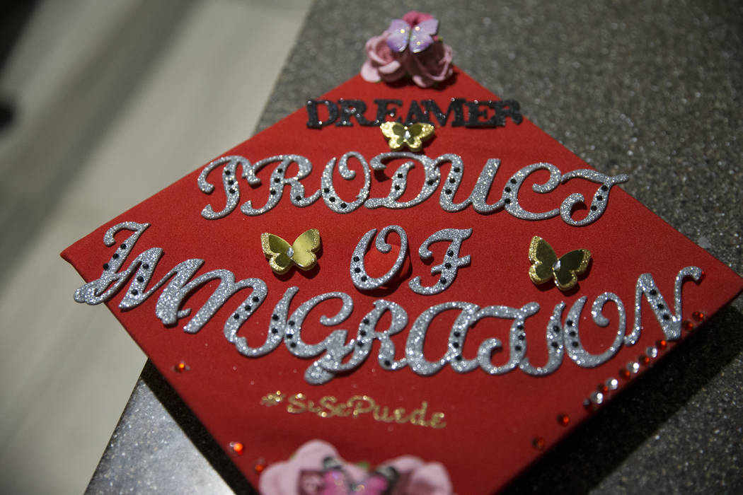 The decorated cap of UNLV psychology graduate Audrey Peral during a ceremony celebrating undocumented graduates at UNLV in Las Vegas, Saturday, Dec. 16, 2017. Erik Verduzco/Las Vegas Review-Journal