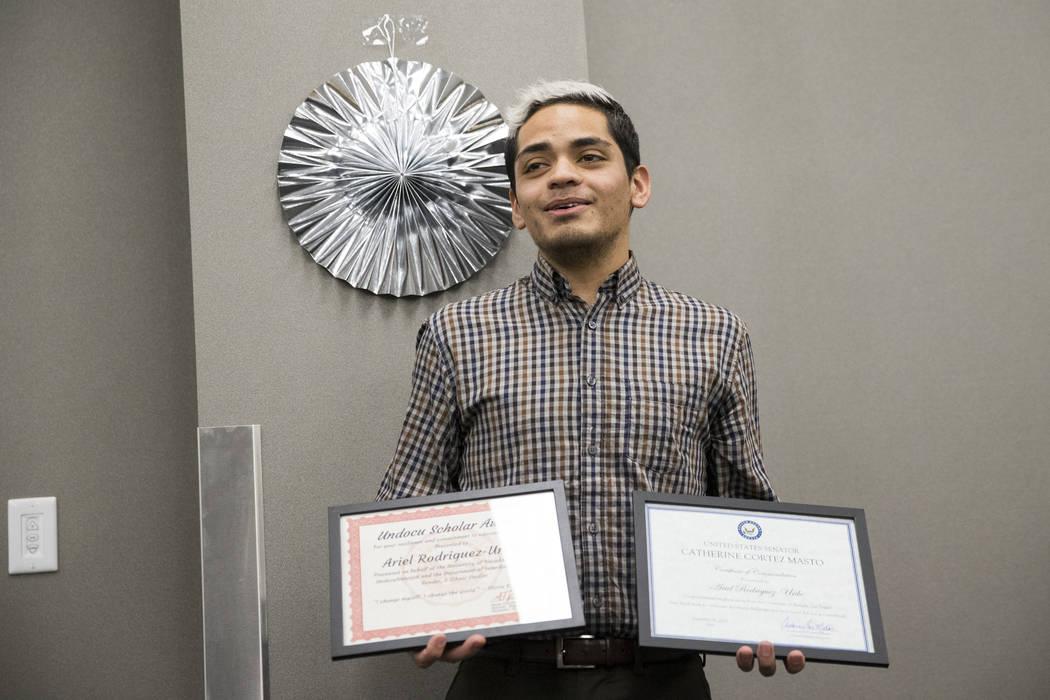 UNLV journalism graduate Ariel Rodriguez gives a speech after getting recognized during a ceremony celebrating undocumented graduates at UNLV in Las Vegas, Saturday, Dec. 16, 2017. Erik Verduzco/L ...