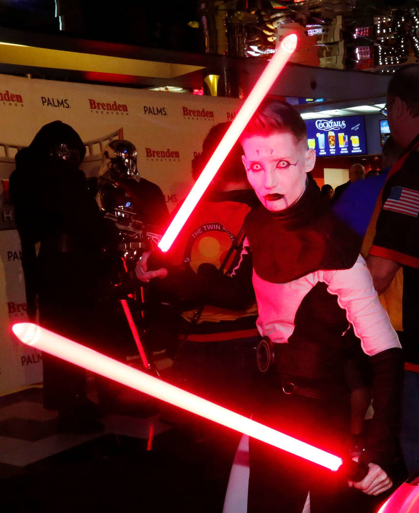 Jess Baker of the Twin Suns dressed as Asajj Ventress during the opening night fan event of Star Wars: The Last Jedi at Brenden Theatres at the Palms in Las Vegas, Thursday, Dec. 14, 2017. Chitose ...