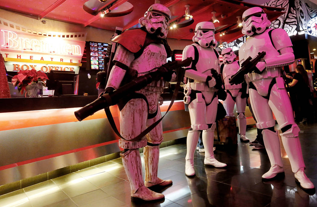 Stormtroopers walk around during the opening night fan event of Star Wars: The Last Jedi at Brenden Theatres at the Palms in Las Vegas, Thursday, Dec. 14, 2017. Chitose Suzuki Las Vegas Review-Journal