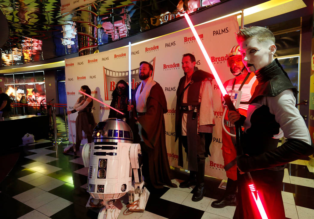 People dressed as the film characters during the opening night fan event of Star Wars: The Last Jedi at Brenden Theatres at the Palms in Las Vegas, Thursday, Dec. 14, 2017. Chitose Suzuki Las Vega ...
