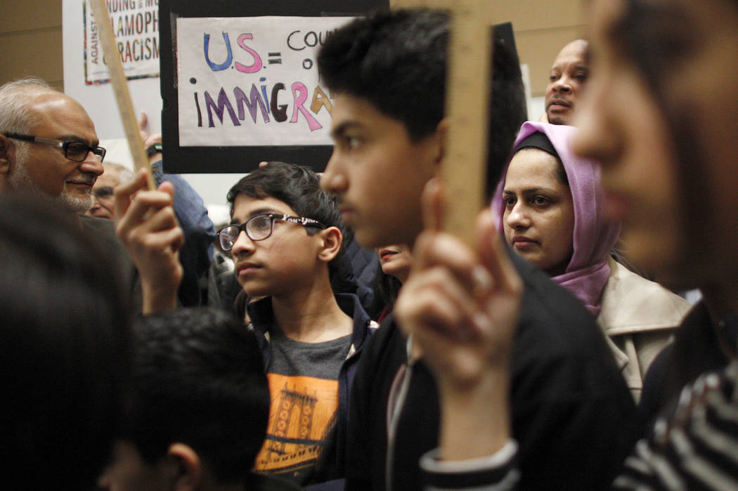 The crowd at a protest against President Trump's recent immigration executive order on Sunday, Jan. 29, 3017, at Terminal three at the McCarran International Airport in Las Vegas. (Rachel Aston/La ...