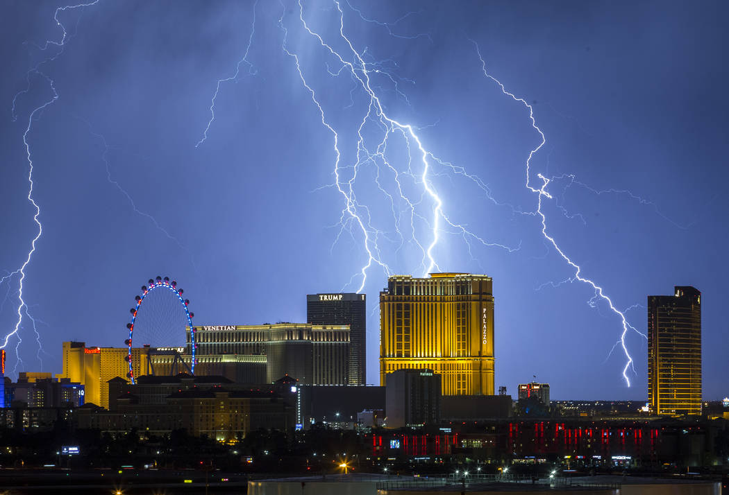 Lightning strikes over the Las Vegas Valley as seen from McCarran International Airport on Wednesday, Sept. 13, 2017. Richard Brian Las Vegas Review-Journal @vegasphotograph