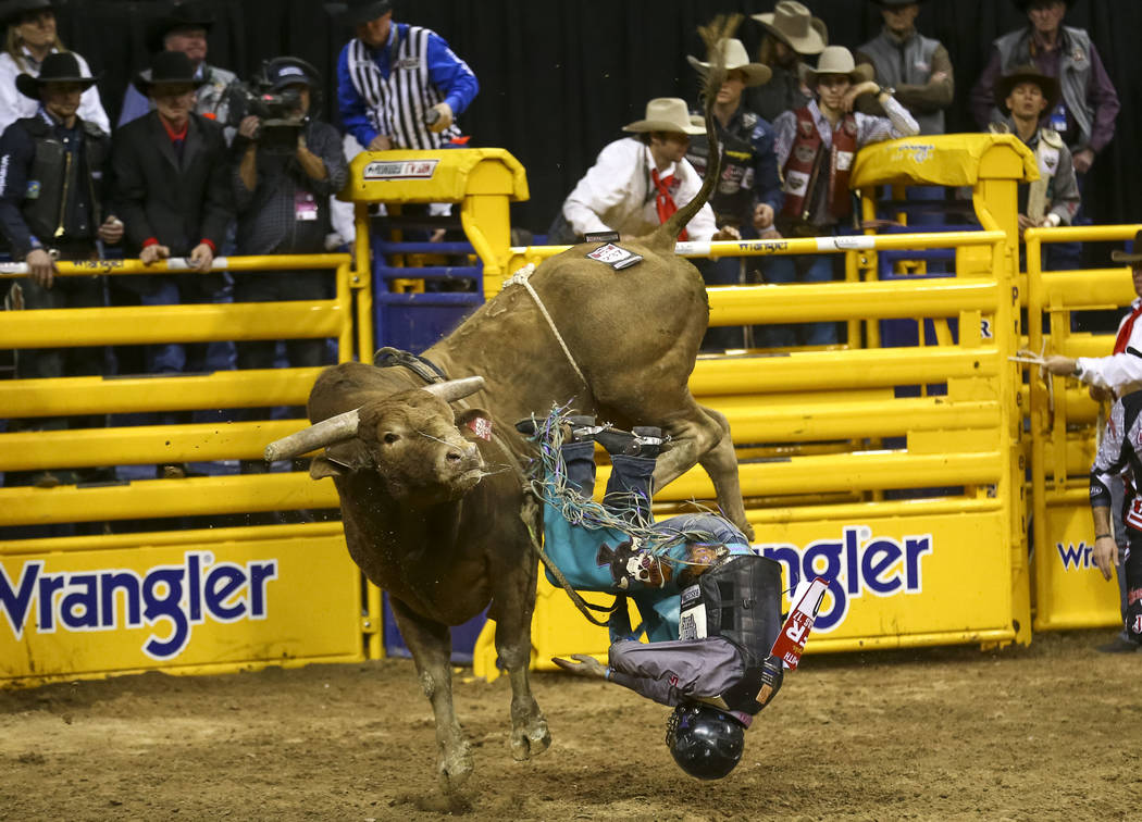Garrett Smith of Rexburg, Idaho hits the dirt after getting bucked off Heartbreak Kid in the bull riding competition during the eighth go-round of the National Finals Rodeo, Thursday, Dec. 14, 201 ...