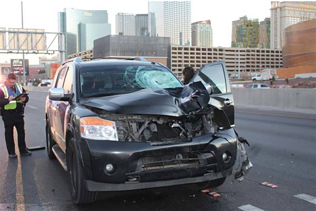 A man died after he was struck by a vehicle on Interstate 15 near Tropicana Avenue on Friday, Dec. 15, 2017. (Nevada Highway Patrol)