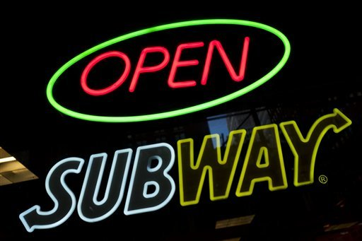 A Subway fast food restaurant's sign is shown, Monday, Oct. 24, 2016, in New York. (Mark Lennihan/AP)