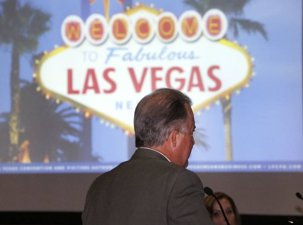 Don Logan, Las Vegas 51s general manager, speaks during the Las Vegas Convention and Visitors Authority board of directors meeting on Tuesday, Oct. 10, 2017, in Las Vegas. Bizuayehu Tesfaye Las Ve ...
