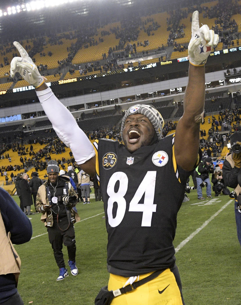Pittsburgh Steelers wide receiver Antonio Brown (84) celebrates a 39-38 win over the Baltimore Ravens in an NFL football game in Pittsburgh, Monday, Dec. 11, 2017. The Steelers won the clinched th ...