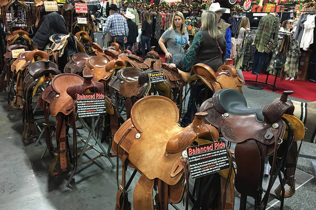 The Cowboy Marketplace, inside the Mandalay Bay Convention Center, includes a sea of saddles at several booths. Patrick Everson/Special to the Las Vegas Review-Journal