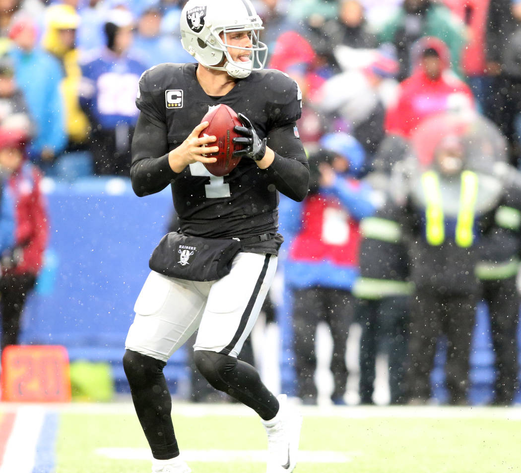 Oakland Raiders quarterback Derek Carr (4) prepares to throw the football during the first half of the NFL game against the Buffalo Bills in Orchard Park, New York, Sunday, Oct. 29, 2017. Heidi Fa ...