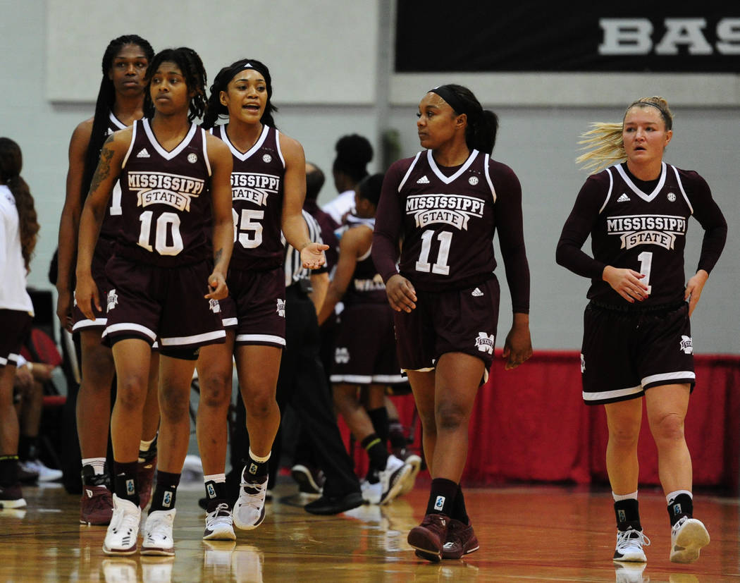 The fifth ranked Mississippi State Bulldogs take the floor during their NCAA women's college basketball game against UNLV at Cox Pavilion in Las Vegas Wednesday, Dec. 20, 2017. Josh Holmberg/Las V ...
