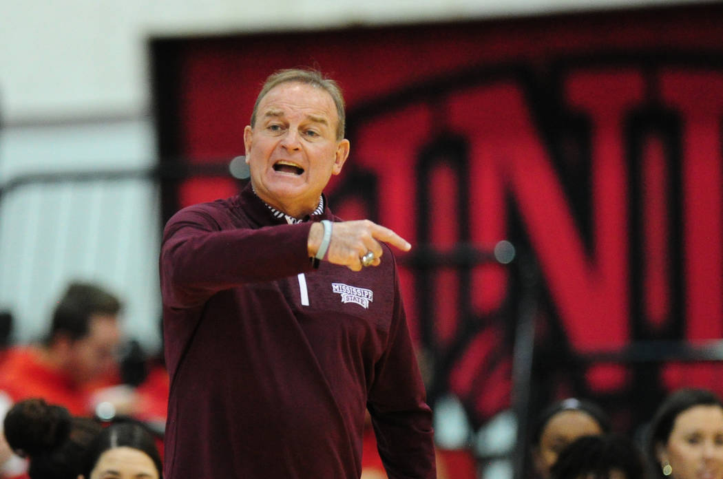 Mississippi State head basketball coach Vic Schaefer reacts during their NCAA women's college basketball game against UNLV at Cox Pavilion in Las Vegas, Wednesday, Dec. 20, 2017. Josh Holmberg/Las ...