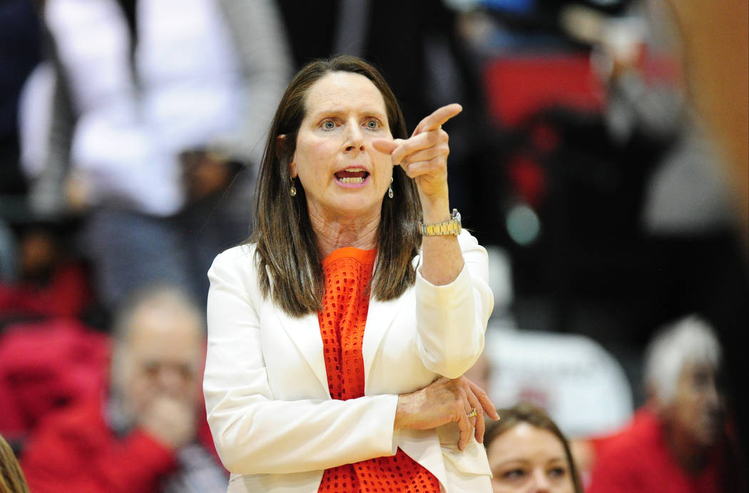 UNLV Lady Rebels head basketball coach Kathy Olivier reacts during their NCAA women's college basketball game against Mississippi State at Cox Pavilion in Las Vegas Wednesday, Dec. 20, 2017. Josh  ...