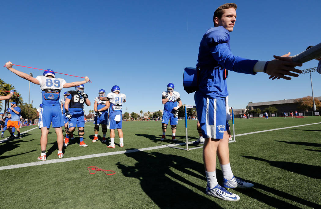 Boise State Broncos quarterback Brett Rypien (4) greets reporters during a football practice at UNLV Rebel Park in Las Vegas, Wednesday, Dec. 13, 2017. Boise State Broncos and Oregon Ducks meet on ...