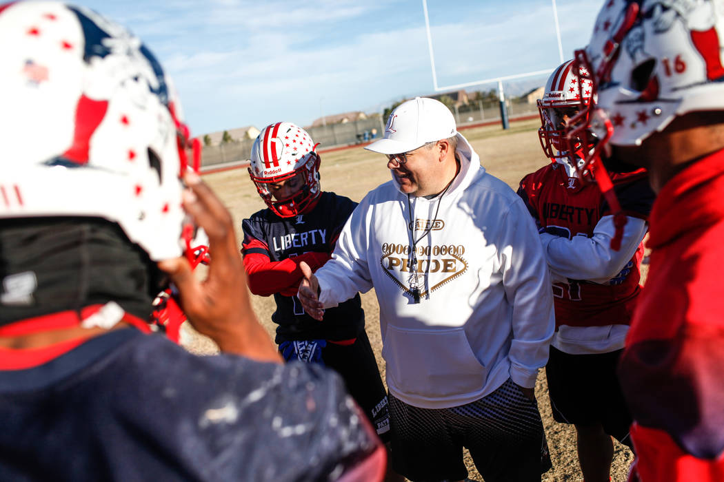 Liberty Patriots head coach Rich Muraco, center, speaks to his special teams squad during a football practice at Liberty High School in Henderson, Thursday, Nov. 23, 2017. Joel Angel Juarez Las Ve ...