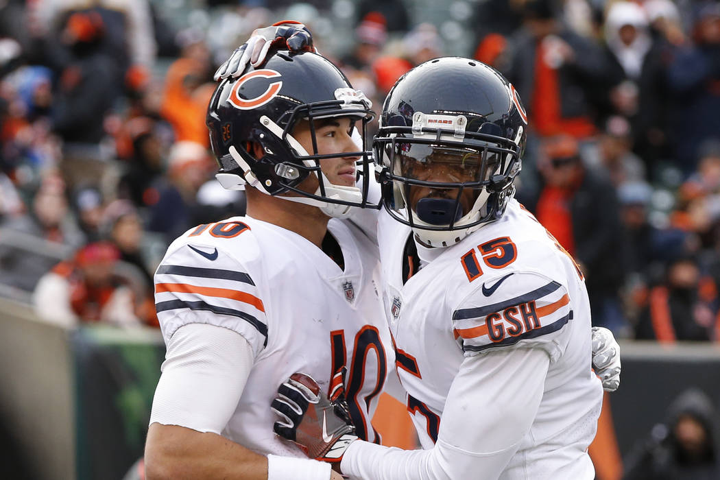 Chicago Bears quarterback Mitchell Trubisky, left, celebrates his touchdown with wide receiver Josh Bellamy (15) in the second half of an NFL football game against the Cincinnati Bengals, Sunday,  ...