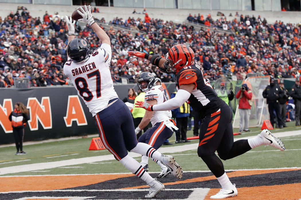 Chicago Bears tight end Adam Shaheen (87) catches a touchdown pass against Cincinnati Bengals middle linebacker Kevin Minter (51) in the second half of an NFL football game, Sunday, Dec. 10, 2017, ...