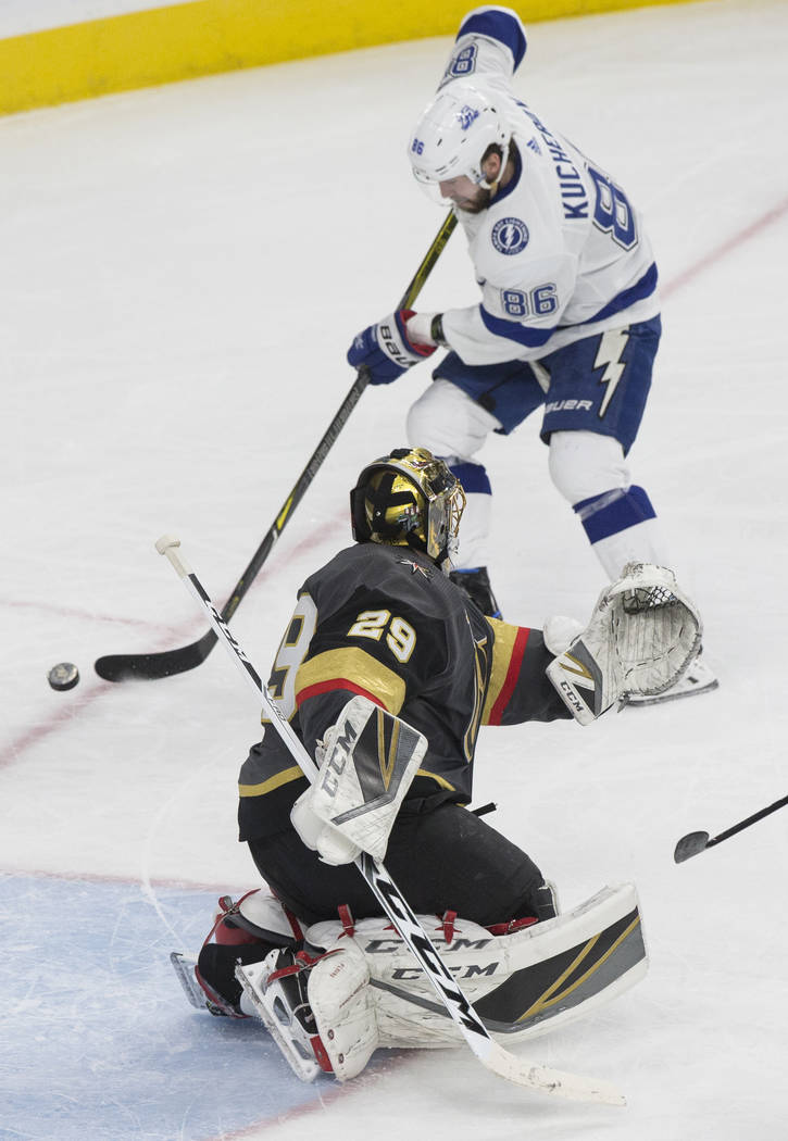 Tampa Bay right wing Nikita Kucherov (86) shoots on Golden Knights goaltender Marc-Andre Fleury (29) in the second period during Vegas' home matchup with the Lighting on Tuesday, Dec. 19, 2017, at ...