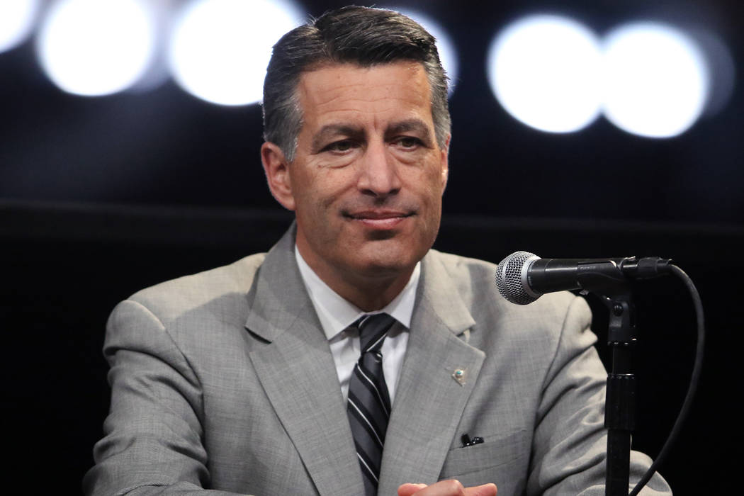 Nevada Governor Brian Sandoval attends a news conference during the Oakland Raiders groundbreaking ceremony in Las Vegas, Monday, Nov. 13, 2017. Heidi Fang Las Vegas Review-Journal @HeidiFang