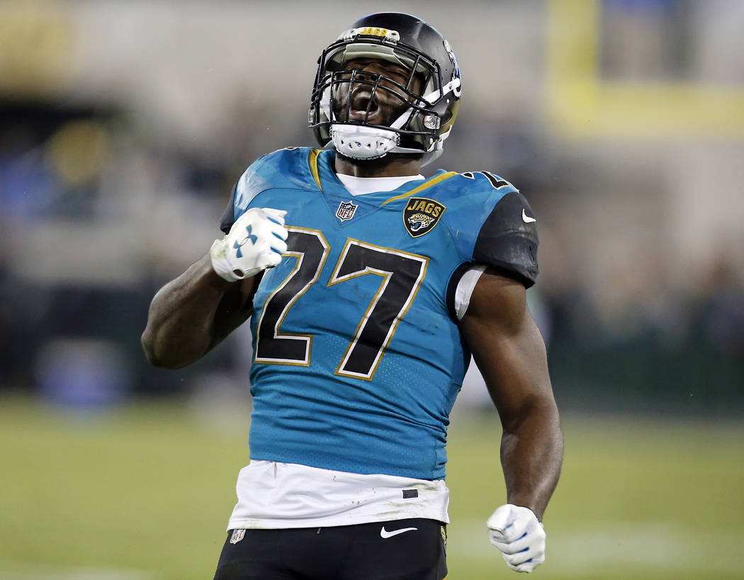 Jacksonville Jaguars running back Leonard Fournette (27) celebrates after a run against the Seattle Seahawks during the second half of an NFL football game, Sunday, Dec. 10, 2017, in Jacksonville, ...