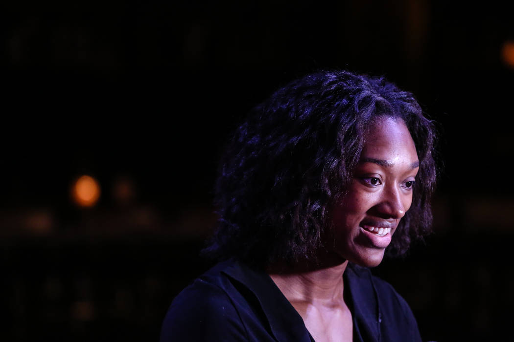 Las Vegas Aces' Kayla Janine Alexander is interviewed following the reveal of the Las Vegas Aces WNBA basketball team at the House of Blues at Mandalay Bay in Las Vegas, Monday, Dec. 11, 2017. Joe ...
