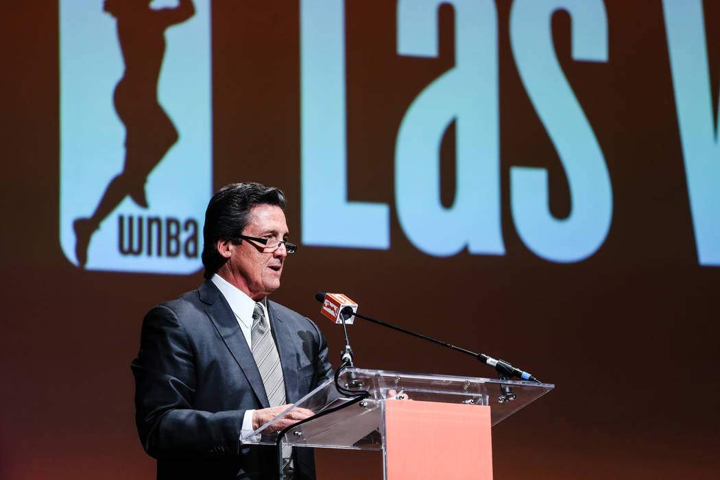 President of MGM Resorts International Bill Hornbuckle speaks during the reveal of the Las Vegas Aces WNBA basketball team at the House of Blues at Mandalay Bay in Las Vegas, Monday, Dec. 11, 2017 ...