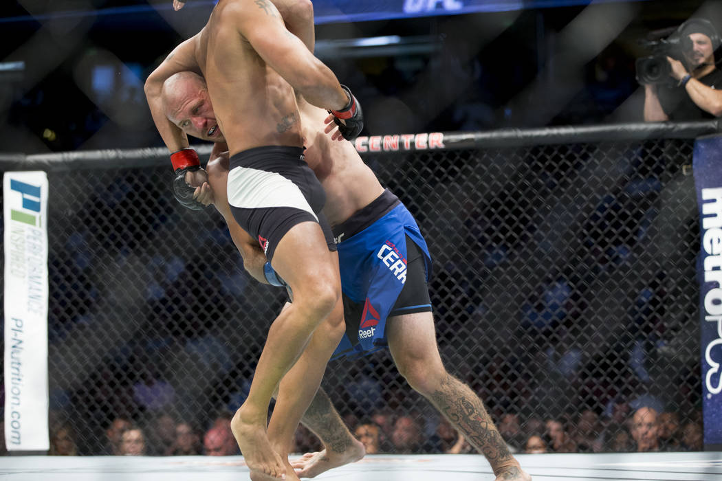 Robbie Lawler, left, battles against Donald Cerrone in the welterweight bout during UFC 214 at the Honda Center in Anaheim, Calif., on Saturday, July 29, 2017. Lawler won by unanimous decision. Er ...