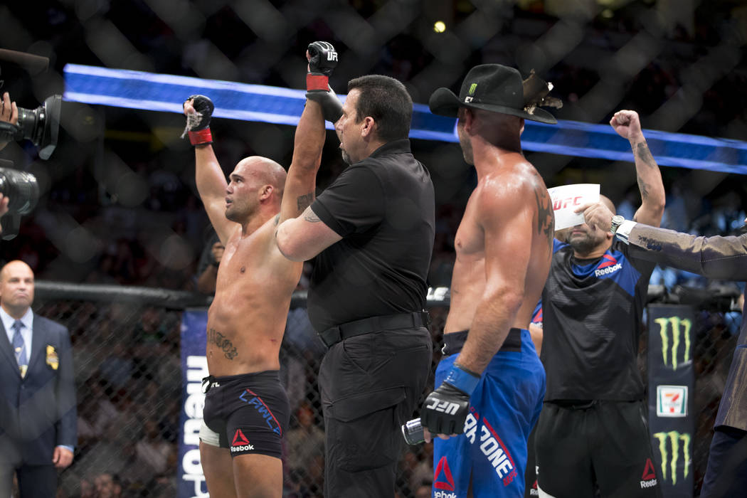 Robbie Lawler reacts to his unanimous decision win against Donald Cerrone in the welterweight bout during UFC 214 at the Honda Center in Anaheim, Calif., on Saturday, July 29, 2017. Erik Verduzco  ...