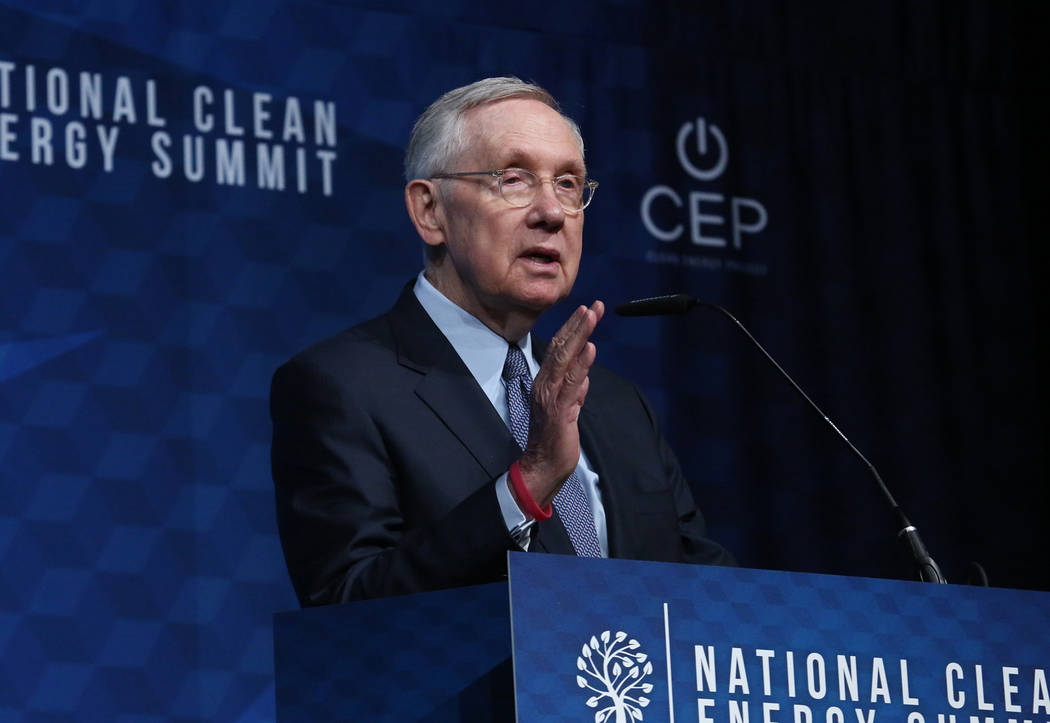 Former U.S. Sen. Harry Reid, D-Nev.,  speaks during the National Clean Energy Summit Friday, Oct. 13, 2017, in Las Vegas. Bizuayehu Tesfaye Las Vegas Review-Journal @bizutesfaye