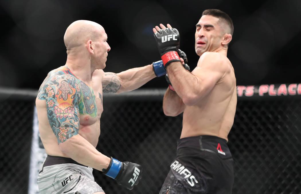 Dec 16, 2017; Winnipeg, Manitoba, USA; Ricardo Lamas fights Josh Emmett during UFC Fight Night at Bell MTS Place. Mandatory Credit: Bruce Fedyck-USA TODAY Sports