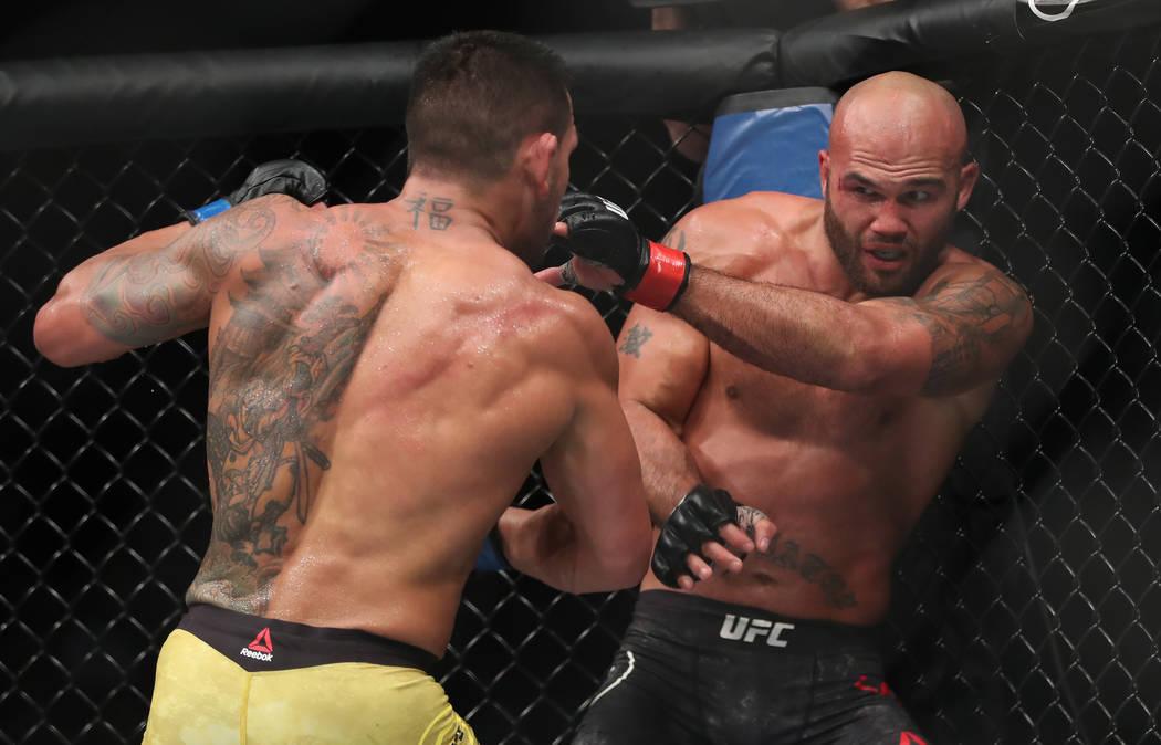 Dec 16, 2017; Winnipeg, Manitoba, USA; Robbie Lawler fights Rafael Dos Santos during UFC Fight Night at Bell MTS Place. Mandatory Credit: Bruce Fedyck-USA TODAY Sports