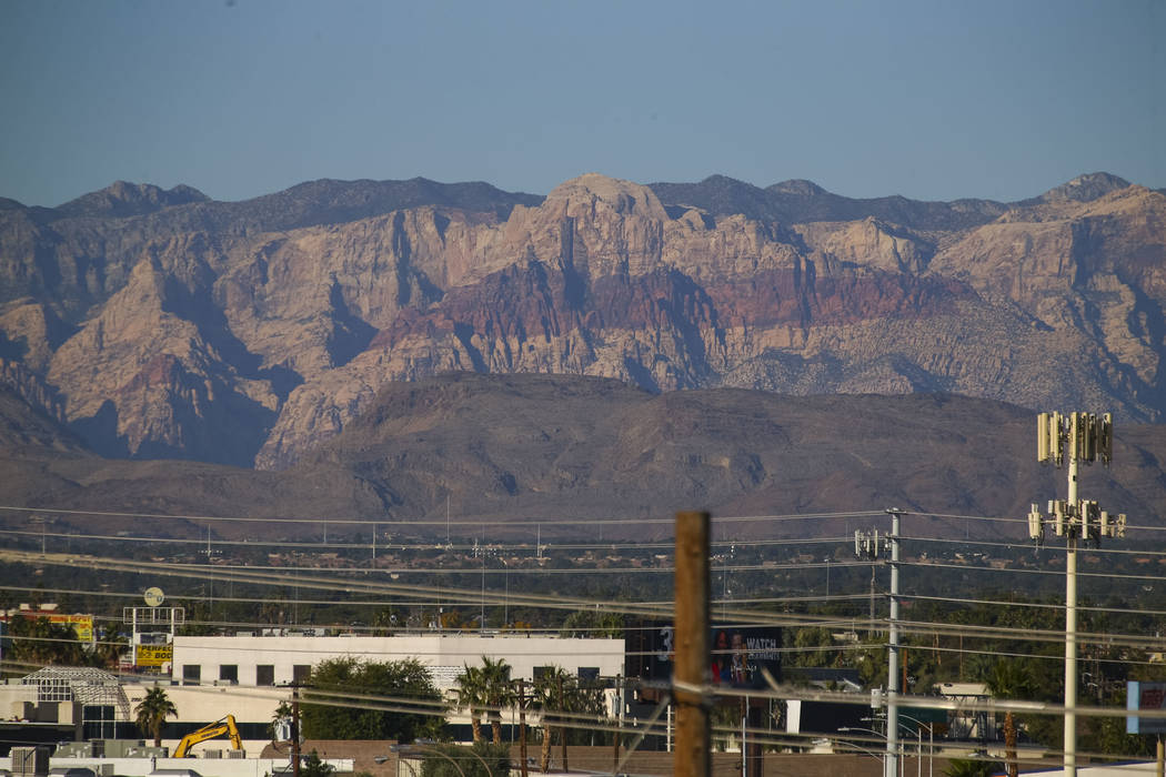 Red Rock Canyon National Conservation Area as seen from the Las Vegas Strip, Sunday, Nov. 26, 2017. Richard Brian Las Vegas Review-Journal @vegasphotograph