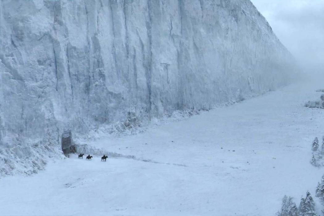 """The gigantic icy barrier simply known as """"the Wall"""" in """"Game of Thrones"""" is about 700 feet high, 300 miles long. (HBO)"""
