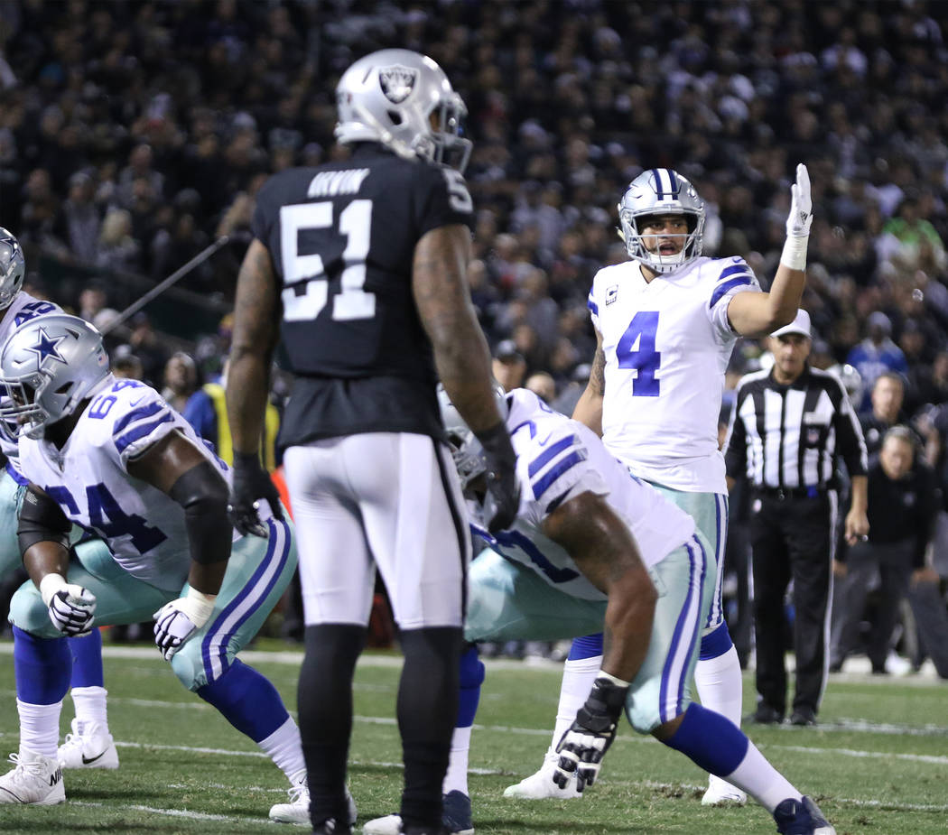 Dallas Cowboys quarterback Dak Prescott (4) at the line of scrimmage against the Oakland Raiders during the first half of a NFL game in Oakland, Calif., Sunday, Dec. 17, 2017. Heidi Fang Las Vegas ...