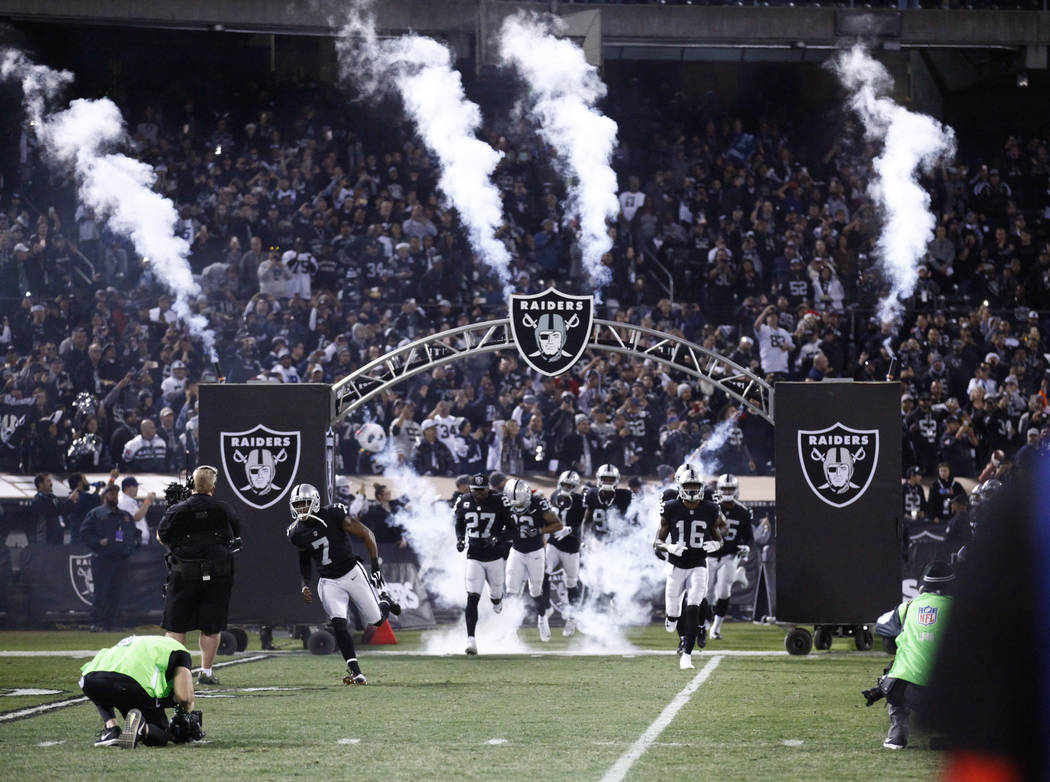 The Oakland Raiders are introduced ahead of their game against the Dallas Cowboys in Oakland, Calif., Sunday, Dec. 17, 2017. Heidi Fang Las Vegas Review-Journal @HeidiFang