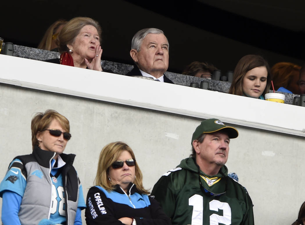 Carolina Panthers owner Jerry Richardson, top center, watches during the first half of an NFL football game between the Carolina Panthers and the Green Bay Packers in Charlotte, N.C., Sunday, Dec. ...