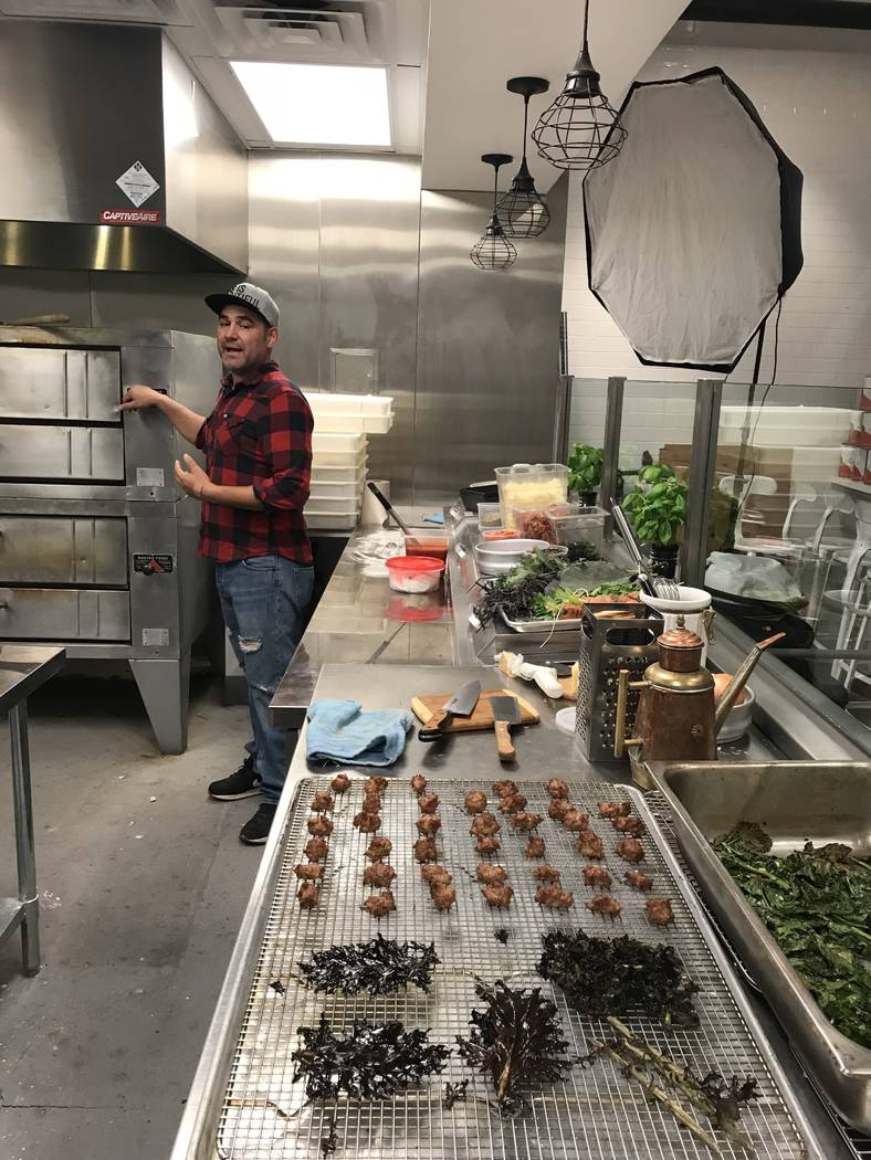 Vincent Rotolo works out his new recipes in his kitchen. (Al Mancini/Las Vegas Review-Journal)