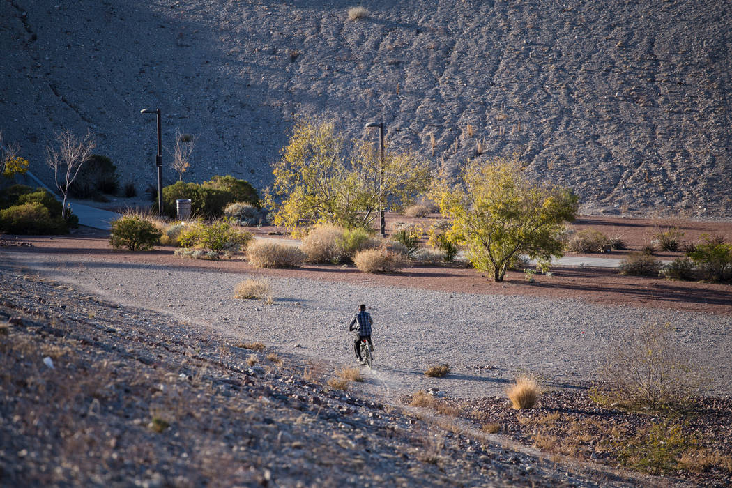 Adrian Gamez, 14, of Las Vegas, rides his bike around Majestic Park. (Joel Angel Juarez/Las Vegas Review-Journal) @jajuarezphoto