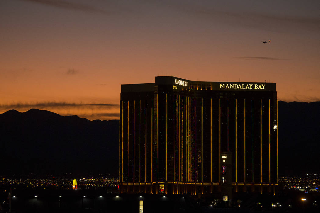 Mandalay Bay on Las Vegas Boulevard South at dusk on Monday, Sept. 25, 2017. Richard Brian Las Vegas Review-Journal @vegasphotograph