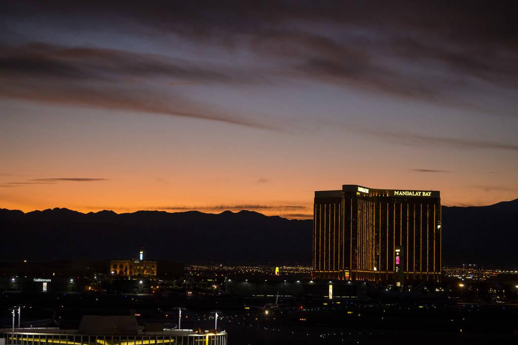 Mandalay Bay on Las Vegas Boulevard South at dusk on Monday, Sept. 25, 2017. Richard Brian Las Vegas Review-Journal @vegasphotograph