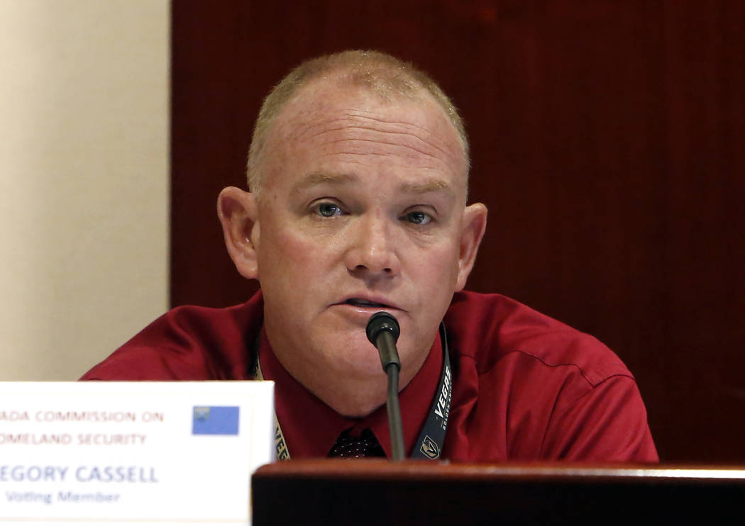 Clark County Fire Department Chief Gregory Cassell speaks on Wednesday, Dec. 6, 2017, in Las Vegas, during a Nevada Homeland Security Commission meeting regarding the Oct. 1 mass shooting.  ...