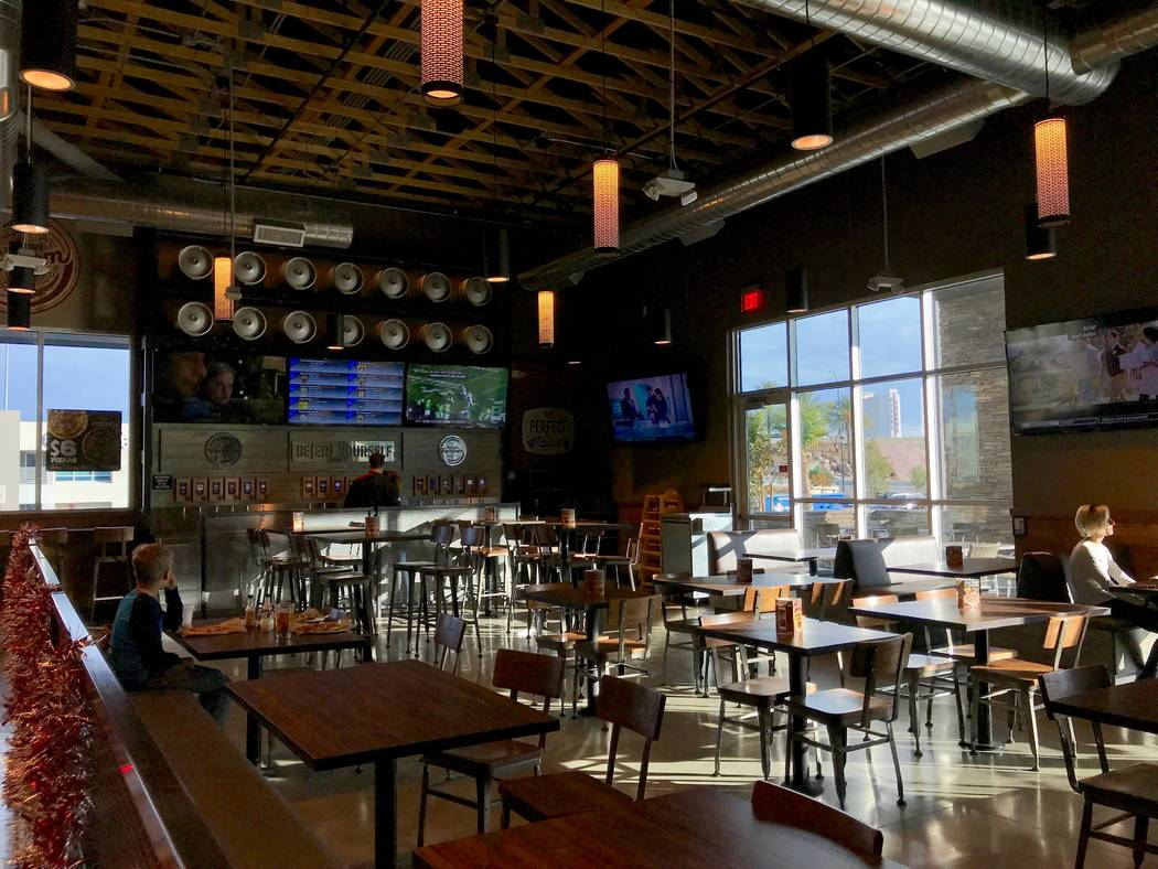 The PizzaRev taproom on West Sahara Avenue, pictured Dec. 16. The restaurant opened in July. (Madelyn Reese/View) @MadelynGReese